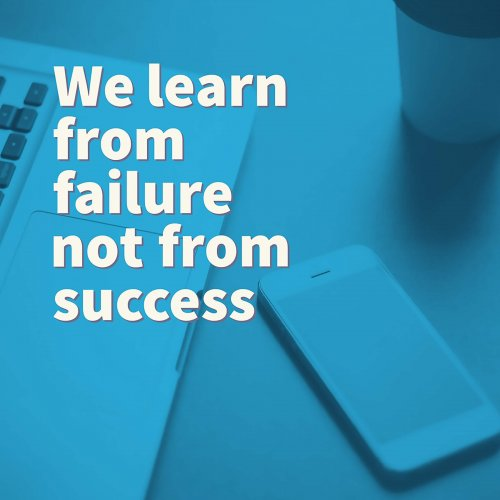 Inspirational motivation quote about business on smart phone and laptop background